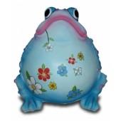 Dicker aufgeblaener Frosch mit dekorativer Blumenbemalung blau