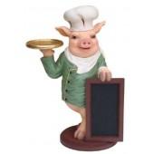 Schwein als Koch mit Angebotstafel
