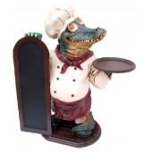 Krokodil als Koch mit Angebotstafel