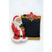 Weihnachtsrelief mit Weihnachtsmann und Kreidetafel