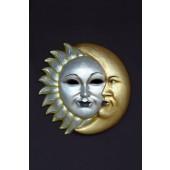 Maske Sonne-Mond Gold-Silber