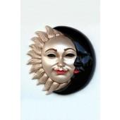 Maske Sonne-Mond Weißgold-Schwarz