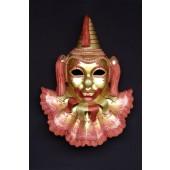 Maske Buffone Rot-Gold