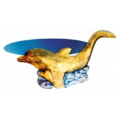 Glastisch mit Delfin