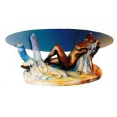 Glastisch mit erotischer Frauenfigur
