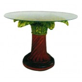 Glastisch mit Palmensäule