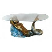 Glastisch mit bronzefarbener Meerjungfrau
