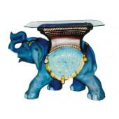 Glastisch mit laufendem Elefanten