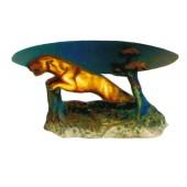 Glastisch mit springendem Jaguar