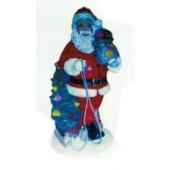 Weihnachtsmann mit Schlitten und Arm voller Geschenke