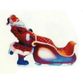 Weihnachtsmann schiebt Schlitten für Geschenke