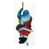 Weihnachtsmann zieht sich am Seil hoch