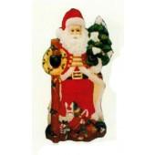 Weihnachtsmann mit Berg voller Geschenken und Tannenbaum