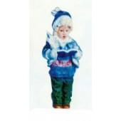 Winterkind Junge mit Buch klein