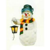 Schneemann mit buntem Schal und Laterne