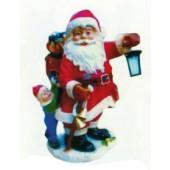 vollgepackter Weihnachtsmann mit Kind und Laterne