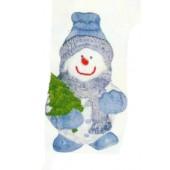 warm angezogener Schneemann mit Tannenbaum