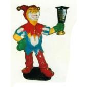 Clown verkleidet als Joker mit Laterne klein