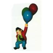kleiner Clown hängend an Luftballons