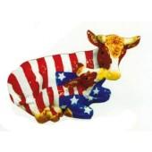 kleine liegende Kuh mit Kälbchen Amerikabemalung