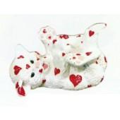 kleines weißes Kätzchen mit Herzen