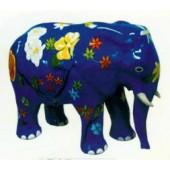 blauer Elefant klein mit Blumenbemalung