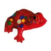 roter Frosch mit farbigen Punkten