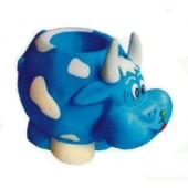 blaue Kuh mit weißen Flecken als Pflanzgefäß