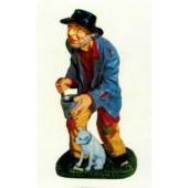 Bettler mit Becher und Stock und Hund