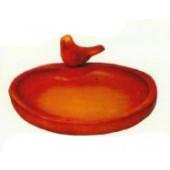roter Vogeltrank Schale mit Vogel