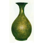 grüne Vase mit Weinmusterung