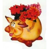 rundes Schwein als Pflanzgefäß