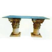 Glastisch mit 2 antiken Säulen