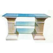 kleines Säulenregal antik mit Glasplatte und zwei Glasböden