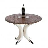 Stierhorntisch Rund mit Holzplatte