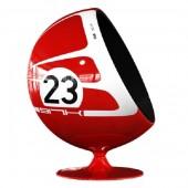 Kugelsessel Rot Weiß 23