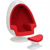 Ei Sessel weiß mit roter Polsterung