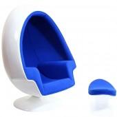 Ei Sessel weiß mit blauer Polsterung