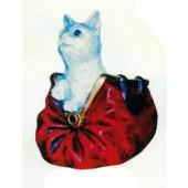 Katze in roter Handtasche groß