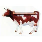 lebensgroße braun weiße Kuh als Stehtisch