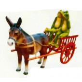 Esel mit Froschpaar auf Kutsche