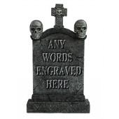 Totenkopf und Kreuz Grabstein mit Wunschbeschriftung