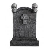 Totenkopf Grabstein mit Kreuz