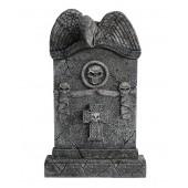 Geier Grabstein mit Totenköpfen und Kreuz