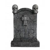 Totenkopf Grabstein mit Kreuz (Variante 2)
