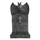 Fledermaus Grabstein mit Kreuz