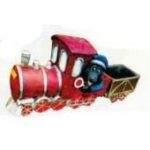 Maulwurf im Zug als Eisenbahner rot