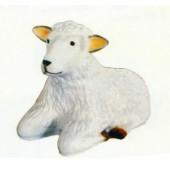 liegendes weißes Schaf Kopf oben