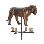 Löwin stehend Windrichtungsanzeiger Bronze