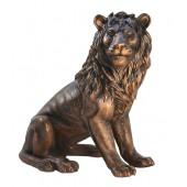 Löwe sitzend Blick rechts Bronze
